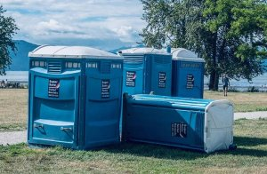 Tipped Over Portable Toilet